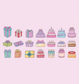 gift boxes and birthday cakes vector image vector image