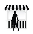girl silhouette front of street stall vector image vector image