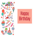 happy birthday holiday card with baloons vector image