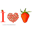 i love strawberries vector image vector image