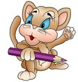 Kitten With Crayon vector image vector image