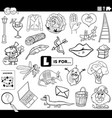 letter l educational task coloring book page vector image vector image