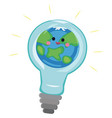 light bulb with world inside and global warming vector image