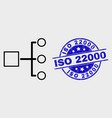 line hierarchy icon and scratched iso 22000 vector image vector image