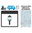 Man Shower Calendar Page Icon With 1000 Medical vector image vector image