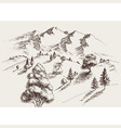nature drawing mountains landscape an isolated vector image vector image