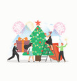 office people decorating christmas tree vector image