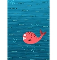 Pink Whale and Fish Underwater Cartoon Background vector image vector image