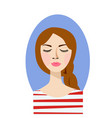 pleased woman with her eyes closed and queue vector image vector image