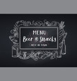 pub food and beer blackboard style vector image