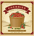 retro cherry harvest label with landscape vector image vector image