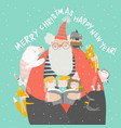 santa claus reading books with happy kids and vector image vector image
