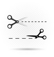 scissors line cut template vector image vector image
