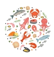 Seafood icons set in round shape flat style Sea vector image vector image