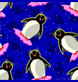 seamless pattern with penguins snowflakes fishes vector image