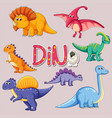 set of dinosaur sticker vector image