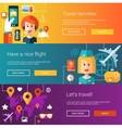 Set of flat design flyers and headers with travel vector image vector image