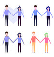 set of icons of couple in love vector image vector image