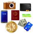 set of the traveler camera money passport vector image