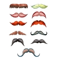 set of watercolor male mustache vector image vector image