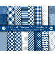 set sixteen seamless polka dots gingham with vector image