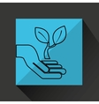 silhouette hands environmentally friendly leaf vector image vector image