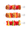 Skewers of different ingredients isolated vector image