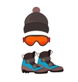 Ski gloves and skiing goggles vector image