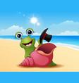 smiling snail cartoon on summer beach vector image