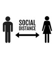 social distance banner with persons man and woman vector image vector image