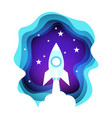 space rocket in night sky over shining stars vector image vector image
