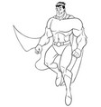 superhero flying happy line art vector image vector image