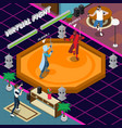 virtual fight isometric vector image vector image