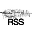 what is rss and do i need it text word cloud vector image vector image