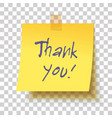 yellow sticky note with text thank you vector image vector image