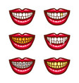 a collection of pop art icons of red female lips - vector image