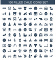 100 child icons vector image vector image