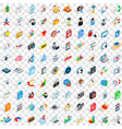100 design icons set isometric 3d style vector image vector image
