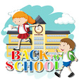 Back to school theme with kids at school vector image