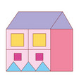 big house with square windows and roof design vector image vector image