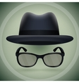 Black fedora and eyeglasses vector image vector image