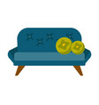 blue sofa with pillows cartoon vector image