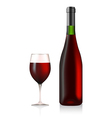 Bottle and glass with red wine vector image vector image
