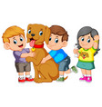 child lovingly embraces his pet dog vector image vector image