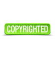 copyrighted green 3d realistic square isolated vector image