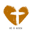 cross and heart and calligraphic text logo easter vector image vector image