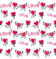 cute heart character seamless pattern background vector image vector image