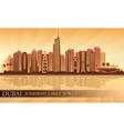 Dubai Jumeirah Lakes Towers skyline silhouette vector image