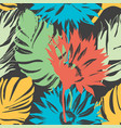 exotic summer flowers and leaves seamless pattern vector image vector image