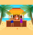flat tropical beach bar concept vector image vector image